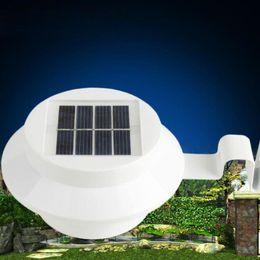 Wholesale Roof Led Lights - Outdoor Solar Powered 3 LED Light Fence Roof Gutter Garden Yard Wall Lamp Garden Street Lighting Energy-saving Lights LED Solar Powered