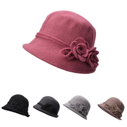 Womens Retro Wool Cloche Bucket Collapsible Soft Knit Bowler Side Two  Flower Roll Brim Hats A466 47f0bbac3970