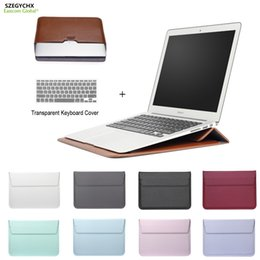 Wholesale macbook air 11 bag leather - New Leather Mail sack Sleeve Bag Case For Macbook Air Pro Retina 11 12 13 15 Notebook Laptop Cover For Macbook 13.3 inch