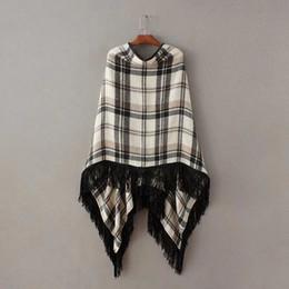 Wholesale Swing Tassels - 2016112116 Women vintage plaid cape sweaters wrap swing loose tassels shawl poncho coat pullovers ladies winter warm brand tops