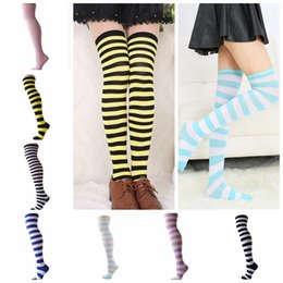 Wholesale Cotton Dress Socks Women - Girls Striped Knee High Socks Halloween Christmas Long Stocking For Adult Women Dress Long Leggings Socks OOA2823