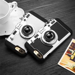 nette telefonkoffer korea Rabatt Korea 3D nette Kamera-Telefon-Kasten für iPhone7 7plus 6 6s 6plus weichen TPU-Fallrückseitenabdeckung mit dem Bügel-Seil Schwarzweiss