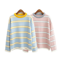Wholesale Purple Christmas Sweater - Wholesale-autumn 2016 women sweaters and pullovers winter new harajuku korean color stripes retro pullover knitted christmas sweater women
