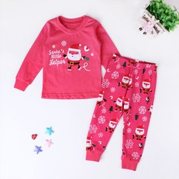 Wholesale Cheap Pajamas Girls - Cheap wholesale home service Christmas Girls Pajamas Set 6 yards high quality new lovely children Santa Claus printing two sets