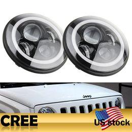 Wholesale Angle Eyes Car - Addmotor 2PCSx50W High Quality LED Headlight 7 Inch Angle Eye LED Car Headlight Turn Signal Light For Jeep Wrangler JK TJ Automobile