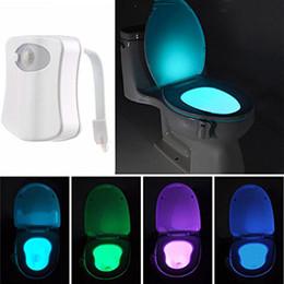 Wholesale Uv Lamp Sensor - Wholesale 8 Colors Color Changing LED Toilet Night Lights UV Motion Activated Light PIR Sensor Light Battery-operated Lamp