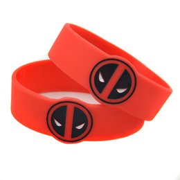 Wholesale Shaped Silicone Bracelets - Wholesale Shipping 50PCS Lot Special Shape Deadpool Silicone Wristband Bracelet for Animation Fans Gift Adult Size
