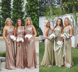 Wholesale One Shoulder Sequined Dresses - Sparkly Rose Gold Cheap Sequined Bridesmaid Dresses 2017 One Shoulder Sequins Backless Long Beach Wedding Party Gowns Gold Champagne