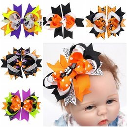"Wholesale China Hair Bows - 9 Design 4.8"" 3D Halloween hairpin barrettes for gilrs Hot Bat Ghost spider pumpkin Big bowknot Hair Clips Hairpins hair bow For Kids A5"