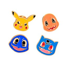 Wholesale American Girl Decorations - Cartoon Emamel Pin Cute Pocket Monster Pikachu Unicorn Mythical Metal Brooch Pins Button Pins Girl Jeans Bag Decoration Gift Wholesale
