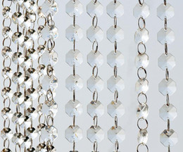 Wholesale Hanging Wedding Decoration - 14mm Crystal Clear Acrylic Hanging Beads Chain silvery ring Garland Curtain Chandelier party wedding XMAS Tree decoration event supplies