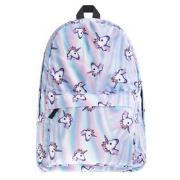 Wholesale Hot Bags For Men - Wholesale- Hot Selling Who Cares New Brand School Backpack Emoji 3D Holo Unicorn Print Unisex Daily Backpack Soft Handle Bag For Men Women