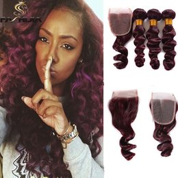 Wholesale Wine Hair Color - red Brazilian deep wave weaves closure dark wine red human hair bundles with lace closure burdundy canbe straight deep loose weave extension