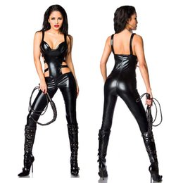 Wholesale black leather halloween costumes - Sexy Faux Leather Women's Catsuit Waist Side Cut Out Jumpsuit Crotchless Bodysuit Wetlook Halloween Cosplay Costume