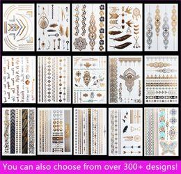 Wholesale Hand Arm Jewelry - 15pcs lot Temporary Waterproof Flash Tattoos Non-toxic Metallic Tattoo Hot Sale Women Tattoo Jewelry And Body Tattoo!
