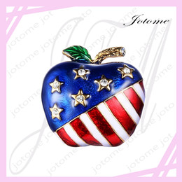 Wholesale Figure Apple - 100PCS Lot China Wholesale Direct Factort Sale Gold-Tone Austrian Crystal Enamel American Flag Patriotic Stars Apple Brooch Pin Clear