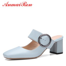 Wholesale Mules Heels Platform - Women Summer High Heels Shoes Women Slingback Pumps Strap Chunky Heels Mules Shoes Woman Slip-on Leisure Slippers