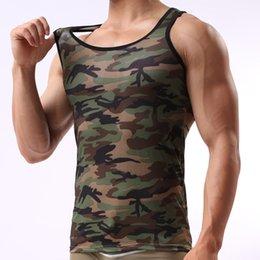 Wholesale Wholesale Sexy Plus Size Costumes - Wholesale- Clothing Singlets Fashion Camouflage Tank Tops Shirt Men Vest Bodybuilding Stringer Costume Slips Plus Size M-XXL