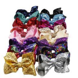 Wholesale hair clips bow lace - 16 Style 6 inch Rainbow Sequin Hair Bow Bling bows Hair Clip Baby Girl Rainbow Bestie Jojo Bows