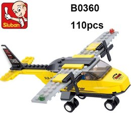 Wholesale Sluban Aircraft - Sluban Building Blocks Trainer Aircraft M38-b0360 110 Pcs 3d Construction Educational Brick Building Blocks Trainer Airplane lepin Toys