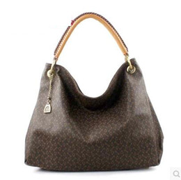 Wholesale White Leather Hobo - Free Shipping Fashion Newest Style PU leather Grid Printed handbags women famous brands designers tote shoulder bags