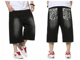 Wholesale Baggy Hip Hop Loose Jeans - Wholesale-Summer Style Hip Hop Baggy Loose Printed Pants for Men Denim Jeans Shorts Mens Shorts Plus Size 30-46 FS4941