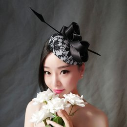Wholesale Vintage Lace Headdress - Woman headdress hair Folk style hair feathers lace Vintage Photography floor accessories dinner dress exaggerated small black hat headdress
