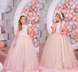 Wholesale Blue Prom Dresses For Teens - Junior Girl Flower Girl Dresses Lace Long Pageant Gowns For Teens Ball Gown Party Dress christmas pageant dress Children formal Prom Dress