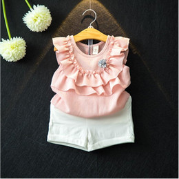 Wholesale Chiffon Girls Pants - Girl Short sets Baby clothes Girls Summer Chiffon Sleeveless Suits Two pieces with Corsage Girls fashions Kids short pants sets 2017 XH 001
