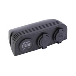 Wholesale Digital Voltmeter Cigarette Lighter - 12V 24V Dual Car Cigarette Lighter Socket 2 USB Adapter Charger Digital Voltmeter Power Splitter Hot Selling