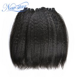 Wholesale new star brazilian hair - Wholesale-new star hair products Brazilian kinky straight extensions weave, coarse yaki straight bundles, 3 bundles lot free shipping