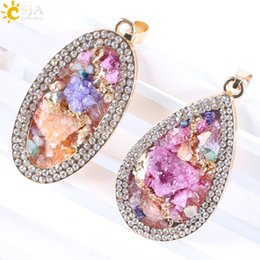 Wholesale Druzy Charms - CSJA Natural Irregular Druzy Drusy Stone Beads Gold Plated Rhinestone Necklace Charms Pendants Love Heart Oval Water Drop Women Jewelry E318