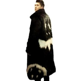 Wholesale Men Cashmere Fur Coats - 2017 new men's winter faux fur jacket Black gown white devil Style long windbreaker Fox thick warm fashion man leahter fur coat