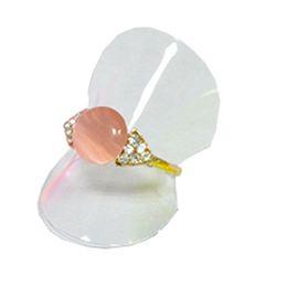 Wholesale Transparent Sheet Plastics - Wholesale 100pcs Lot Jewelry Display Transparent Plastic Ring Holder Sheet 38mm Dia Set Card