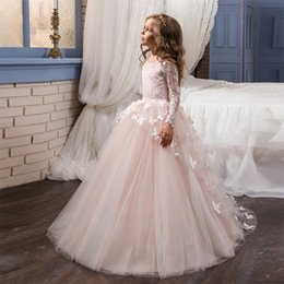 Wholesale Pretty Butterflies - Pretty Flower Girl Pageant Dresses Toddler Ball Gown 2017 Butterfly Train Kids Evening Gowns Tulle Lace Long Sleeve Holy Communion Dresses