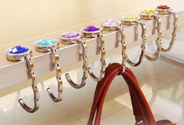 Wholesale Table Purse Holder Wholesale - Round Hook Foldable Handbag Hanger Bag Purse Holder Zinc Alloy Portable Shopping Table Hanger Colorful Stones
