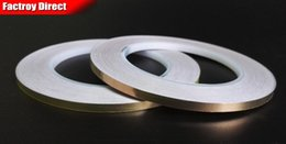 Wholesale Foil Strip - Wholesale- 2016 Free Shipping, 2 roll 4MM*30M Single Adhesive Conductive Copper Tape EMI Shielding Copper Foil Strip Stained Glass Work, L