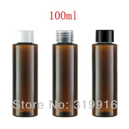 Wholesale Screw Top Empty Container - 100ml X 50 brown cylinder empty plastic bottle with screw top lid, amber PET container for cosmetics packaging, lotion bottles