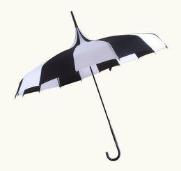 Wholesale aluminum rain - Black And White Stripes Long Handle Pagoda Umbrella Multi Function Sunscreen Anti Rain Straight Rod Bent Handle 23hh H1 R