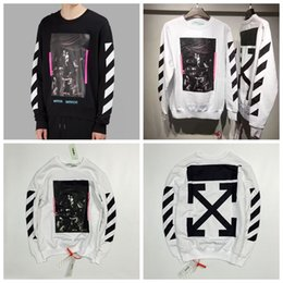 Wholesale New Hip Hop Clothes Woman - OFF WHITE Brand New Streetwear Men's Hip Hop Clothing Religious Arrows Stripes Men Women Loose Round Neck Ssweatshirt Hoodie