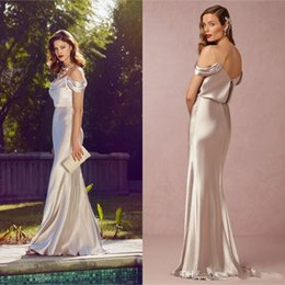 Wholesale Greek Silver Bridesmaid Dresses - Greek Silver Elastic Silk Like Stain Mermaid Bridesmaid Dresses 2018 Spaghetti Backless Floor Length Formal Wedding Guest Gowns Cheap Custom