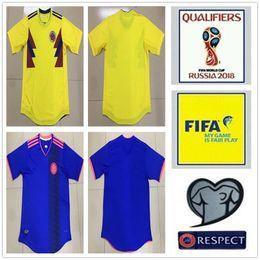 Wholesale Cup Shirts - 2018 Colombia World Cup Soccer Jerseys Uniforms Yellow White Blue 10 JAMES 9 FALCAO 11 CUADRADO 8 AGUILAR 13 GUARIN SANCHEZ Football Shirt