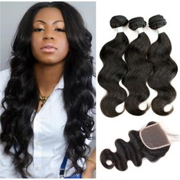 Wholesale 32 Inch Peruvian Straight Hair - Peruvian Virgin Hair Body Wave Natural Color Straight 3 Bundles with Lace Closure Unprocessed Human Hair Free Middle Three Part Closure