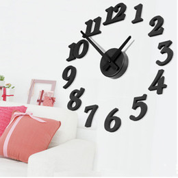 Wholesale Color Plastic Wall Clocks - Wholesale- New Fashion Large Number Wall Clock Diy 3D Mirror Sticker Home Decor Art Modern Room Decoration Balck White Color