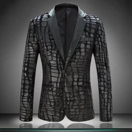 Wholesale Crocodile Jackets - Wholesale- Very Good Quality New Suit Jacket For Men Suit Jackets Velvet Design Crocodile Leather Dress Blazer M-4XL Terno Masculino #812