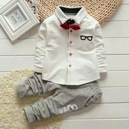 Wholesale Boy Set Fake - Kids Boys Clothing Sets 2017 New Autumn suit of fake two piece Bow shirts + Pants shirts, casual suits YAN-054-43