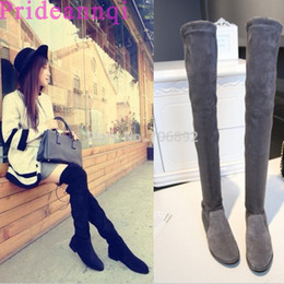 Wholesale Flat Black Thigh High Boots - women's flats stretch slim over the knee boots elastic long thigh high back lace up boots