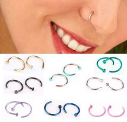 Wholesale Gold Hoop Earrings Jewelry - Hot Nose Rings Body Piercing Jewelry Fashion Jewelry Stainless Steel Nose Open Hoop Ring Earring Studs Fake Nose Rings Non Piercing Rings