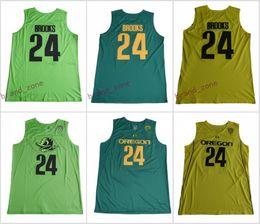 Wholesale Oregon Ducks Shorts - Oregon Ducks #24 Dillon Brooks Stitched College Green Yellow Home Road Alternate Men Basketball Jerseys