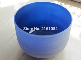"""Wholesale Quartz Crystal Bowl - Wholesale- 8"""" Indigo Color A Third Eye Chakra Frosted Quartz Crystal Singing Bowl with free suede and o ring"""